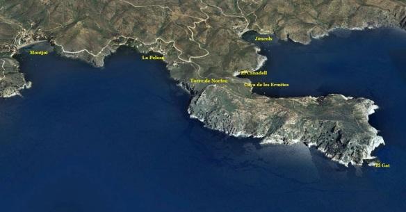 La subpeninsula de Norfeu, separa la badia de Montjoi de la de Jóncols