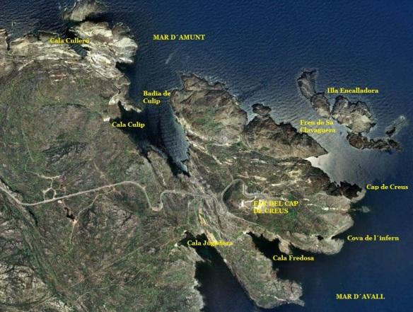 """Cala Culip es troba a l´extrem més oriental del """"mar d´amunt"""" i està orientada completament al nord"""