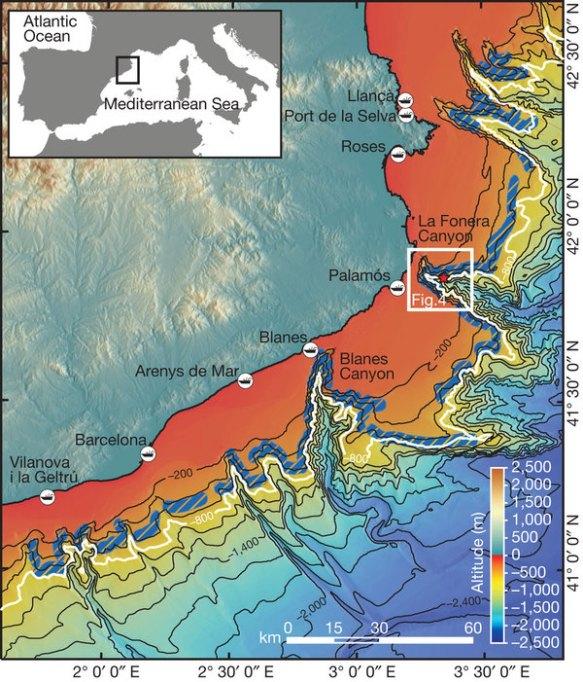 Topografia dels  canyons submarins. Font Generaltat de Catalunya